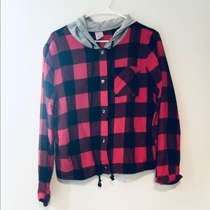 Plaid Button Up Jacket with Hood